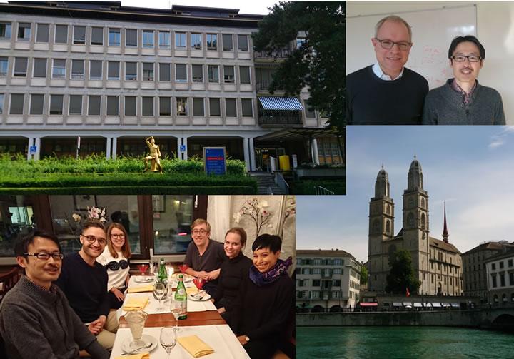 左上から時計回りにチューリッヒ大学病院正面玄関、Oliver Dislter教授と筆者、Grossmunster 大聖堂、グループメンバー
